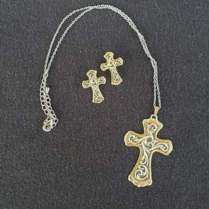 Tooled Cross Necklace & Earrings Set